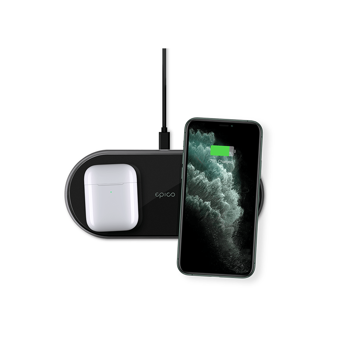 EPICO ULTRASLIM DUAL WIRELESS CHARGER + ADAPTER - black