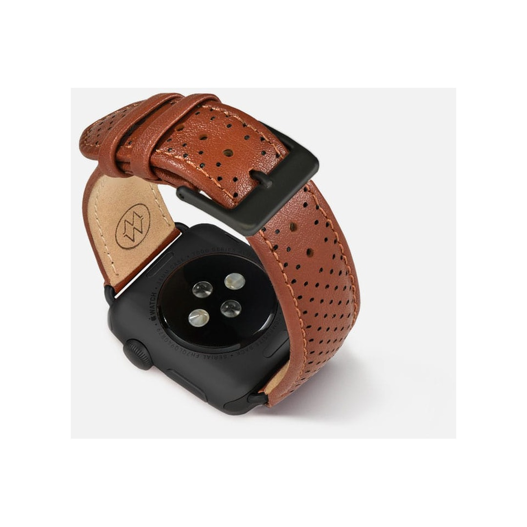 Monowear Brown Perforated Leather Band with Classic clasp – Dark Gray Matte Adapter 42/44 mm