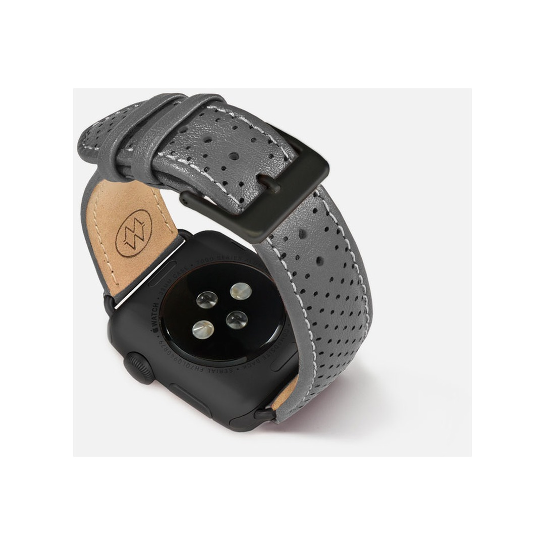Monowear Gray Perforated Leather Band with Classic clasp – Dark Gray Matte Adapter 42/44 mm
