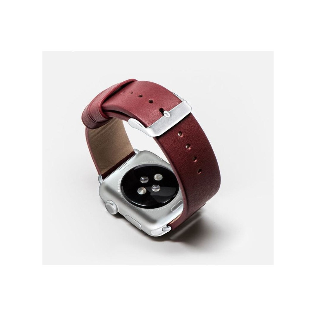 Monowear Red Leather Band – Silver Matte Adapter 38/40mm