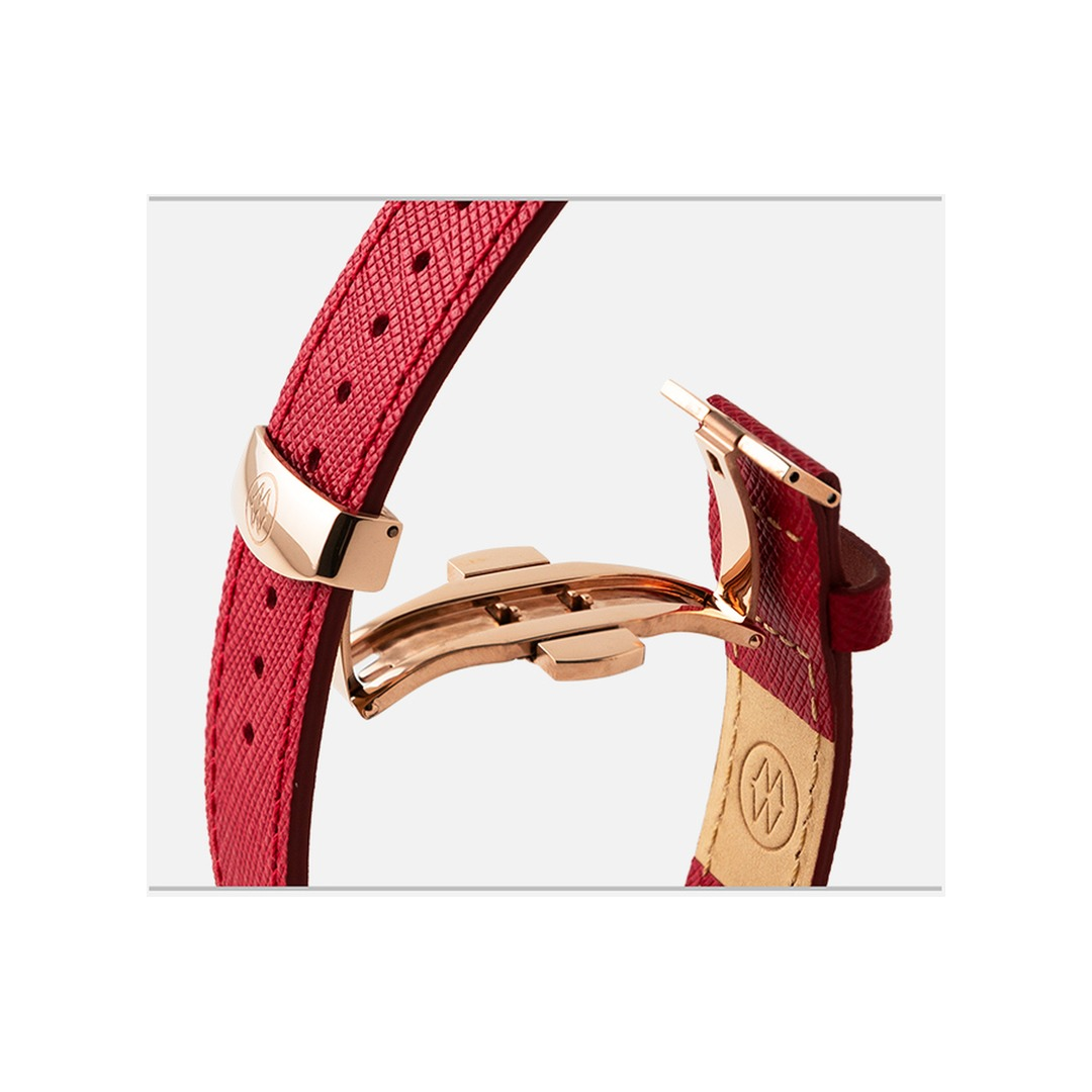 Monowear Red Saffiano Leather Band with Classic clasp – Gold Matte Adapter 38/40 mm