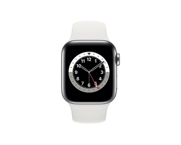 Apple Watch Series 6 GPS + Cellular 40mm Silver Stainless Steel Case with White Sport Band - Regular