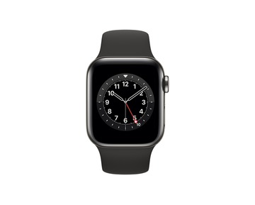 Apple Watch Series 6 GPS + Cellular, 40mm Graphite Stainless Steel with Black Sport Band - Regular