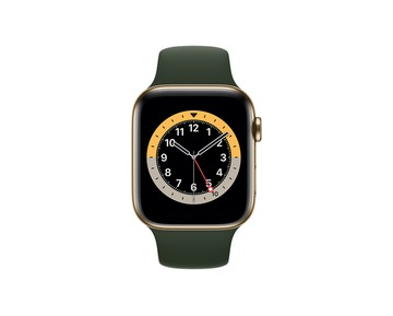 Apple Watch Series 6 GPS + Cellular 44mm Gold Stainless Steel with Cyprus Green Sport Band - Regular