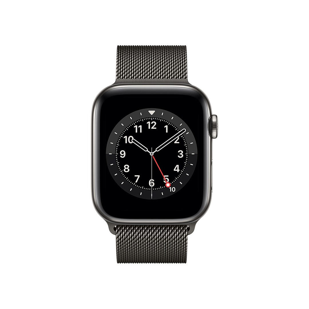 Apple Watch Series 6 GPS + Cellular Graphite Stainless Steel Case with Black Sport Band