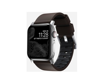 NOMAD Active Strap Pro Brown - Apple Watch 44/42mm - Silver