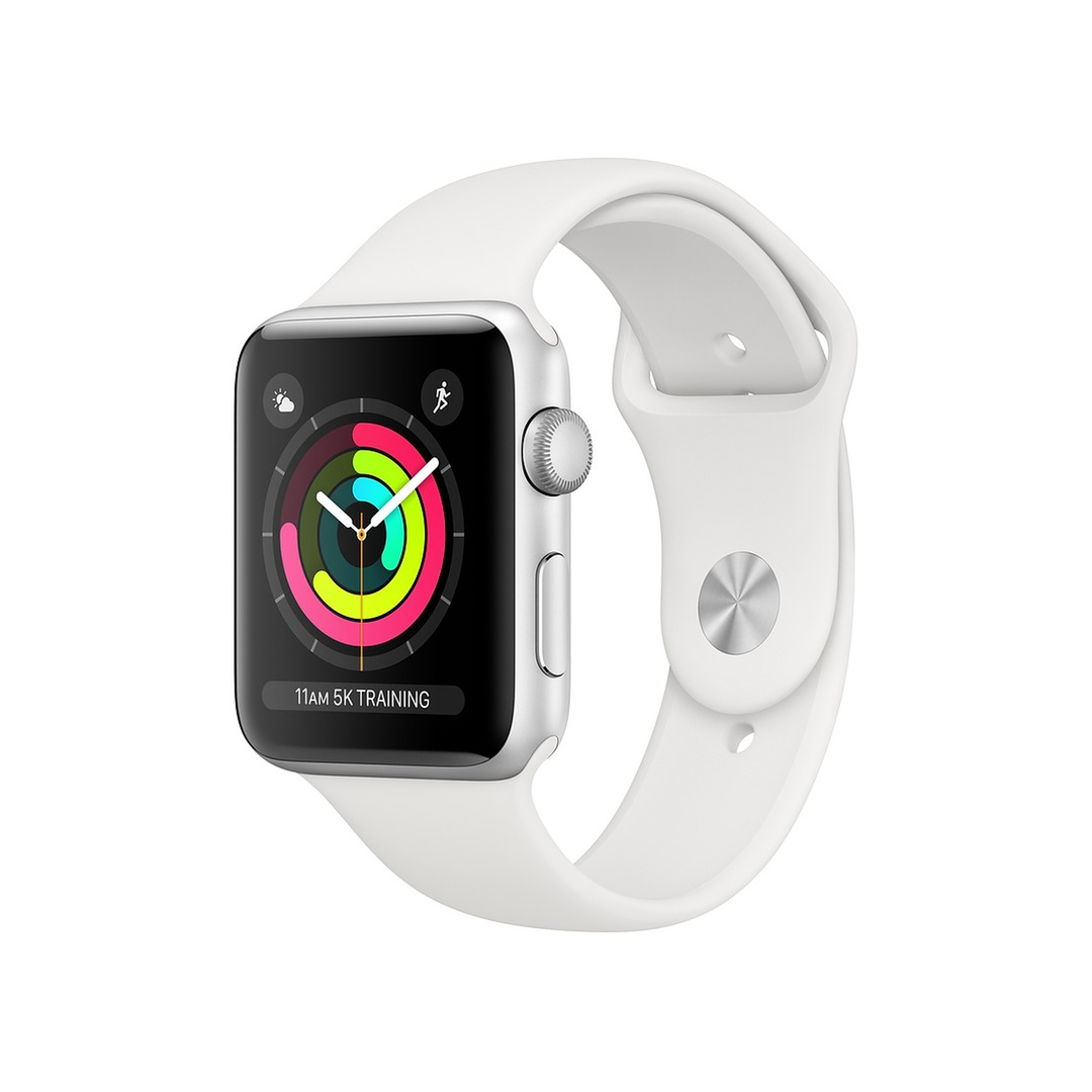 Apple Watch Series 3 GPS Silver Aluminium Case with White Sport Band