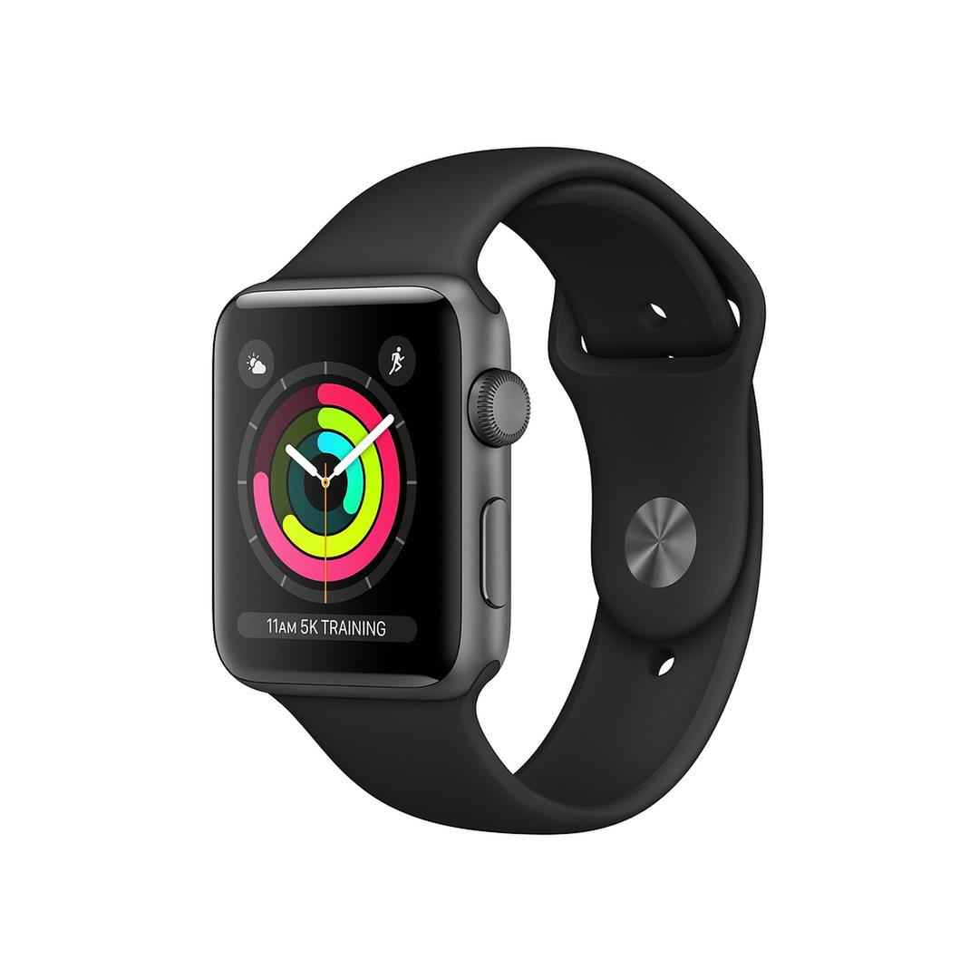Apple Watch Series 3 GPS Space Grey Aluminium Case with Black Sport Band (2018 ősz)