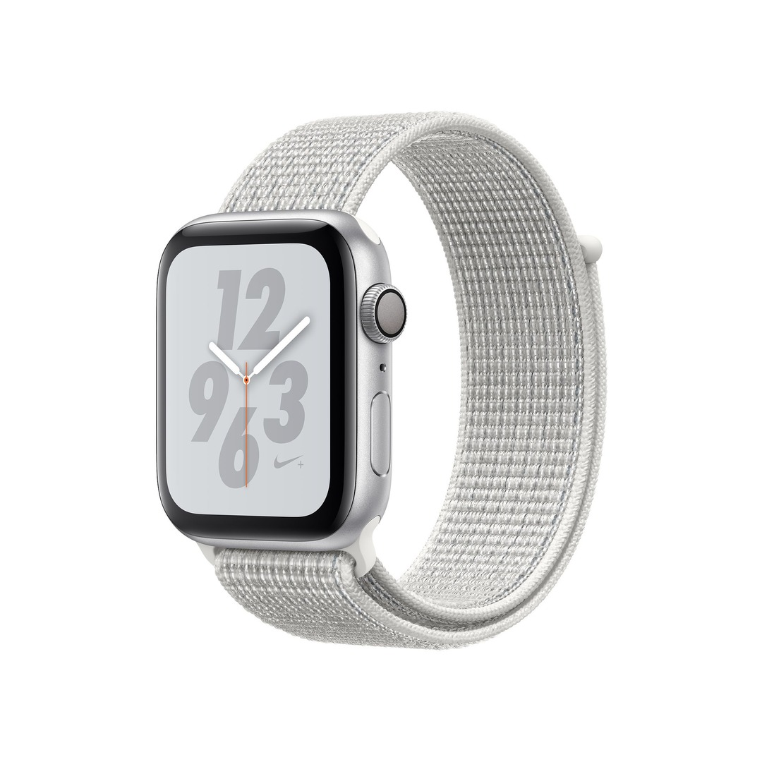 Apple Watch Nike+ Series 4 GPS, Silver Aluminium Case with Summit White Nike Sport Loop
