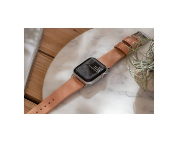 NOMAD Leather Strap Natural Apple Watch 40/38mm - Silver
