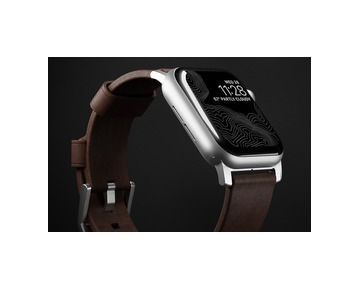 NOMAD Leather Strap Brown Apple Watch 40/38mm - Silver