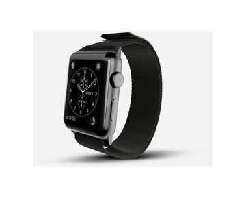 Monowear Black Nylon Active Bands with a genuine leather patch – Dark Gray Matte Adapter 42/44mm