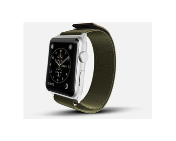 Monowear Olive Nylon Active Bands with a genuine leather patch – Silver Matte Adapter 38/40mm