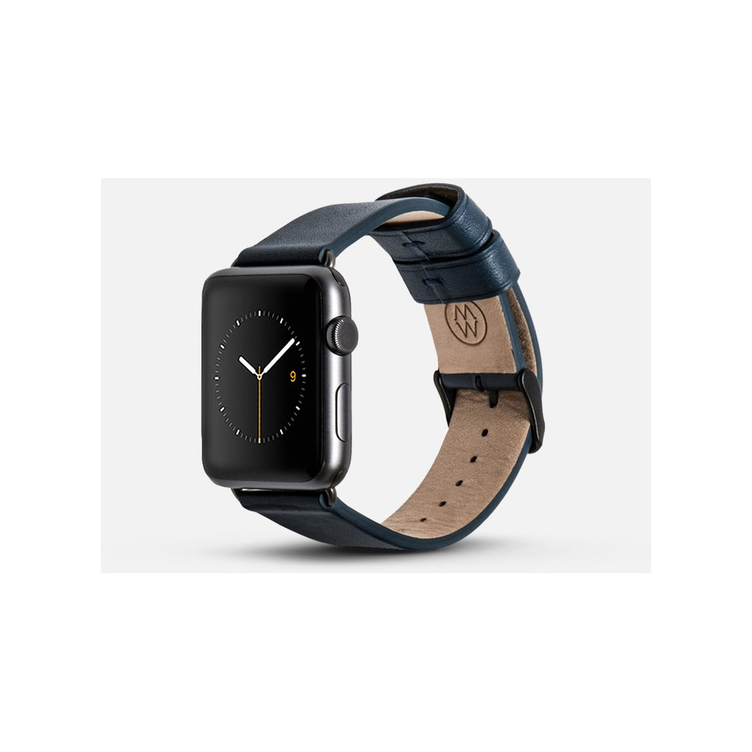 Monowear Navy Leather Band – Dark Gray Matte Adapter 42/44mm