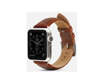 Monowear Brown Perforated Leather Band with Classic clasp – Silver Matte Adapter 42/44 mm