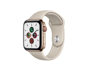 Apple Watch Series 5 GPS + Cell, 44mm Gold Stainless Steel Case with Stone Sport Band - S/M & M/L