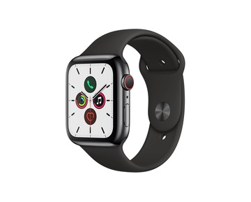 Apple Watch Series 5 GPS + Cell, 44mm Space Black Stainless Steel Case with Black Sport Band-S/M&M/L