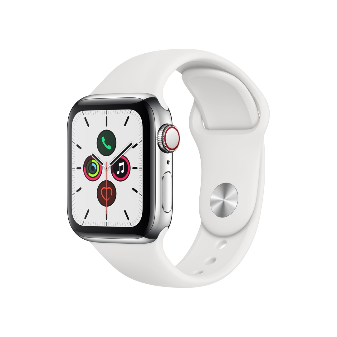 Apple Watch Series 5 (GPS+Cellular) Stainless Steel with White Sport Band