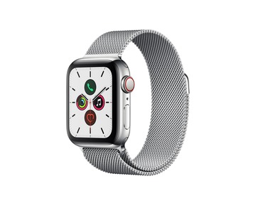 Apple Watch Series 5 GPS + Cellular, 40mm Stainless Steel Case with Stainless Steel Milanese Loop