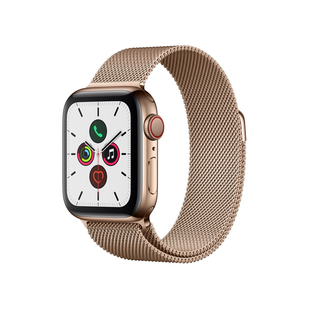 Apple Watch Series 5 (GPS+Cellular) Gold Stainless Steel with Gold Milanese Loop
