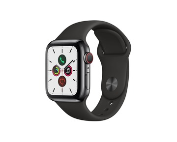 Apple Watch Series 5 GPS + Cell, 40mm Space Black Stainless Steel Case with Black Sport Band-S/M&M/L