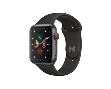 Apple Watch Series 5 GPS + Cell, 44mm Space Grey Aluminium Case with Black Sport Band - S/M & M/L
